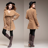 Big Discounts!2013 New Autumn Winter punk Camel Color Wool blends Trench coat jacket for women,LJ418