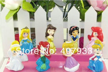 Princess Ariel  1Set 1Set=8pcs 3cm 1.2'' High Quality Cute Cinderella Snow white Belle Cartoon Figure Toy doll