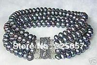 "Pretty 4 rows 7-8mm black pearl bracelet 7.5"" Fashion jewelry"