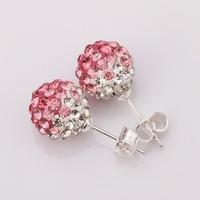 Shamballa Beads Austrian Round Earrings with Rhinestones Nickel Free Fashion Jewelry E099