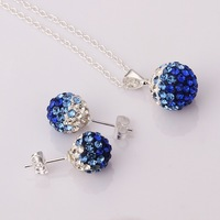 Shamballa Beads Austrian Crystal Balls Necklace Earrings Set with Rhinestones Nickel Free Fashion Jewelry S054
