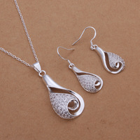 Free Shipping S361 Wholesale Silver Jewelry Set Necklace+ Earrings Fashion Crystal Water Drop Charm Jewellery Set Pendent