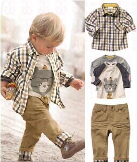 Free shipping,1 set Retail top quality children clothing set boy's plaid 3 pcs set overshirt+tees+pants autumn baby wear BCS006