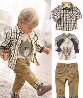Free shipping,1 set Retail top quality children clothing set boy's plaid 3 pcs set overshirt+tees+pants autumn baby wear BCS006(China (Mainland))
