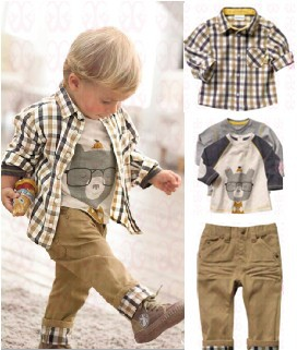 Free shipping,1 set Retail top quality children clothing set boy's plaid 3 pcs set overshirt+tees+pants autumn baby wear BCS006(China (Mainland))