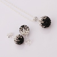 Shamballa Beads Austrian Crystal Balls Necklace Earrings Set with Rhinestones Nickel Free Fashion Jewelry S056