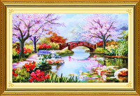 Free shipping new color paintings ribbon embroidery stitch kit 3D printing living room European-style love the place