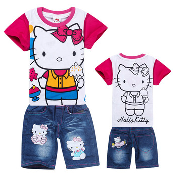 2013 Summer Hello Kitty Baby Girl Set Kids Girls Clothing Sets 2pcs Rose Red T-shirts + jeans Shorts Pants wholesale Kids Wear