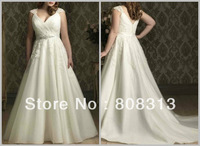 Crazy Sell New Perfect A Line Increase Code White/Ivory Wedding Dress V Neck Lace Applique Bridal Gown Custom Size Free Shipping