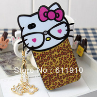 1pcs/lot X New Leopard Hello Kitty Case Cute Soft TPU Back Skin Cover for iPhone 4 4G / 4S Wholesale and Retail+Free Shipping