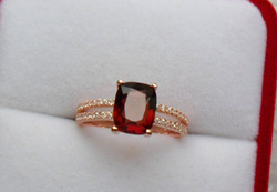 Red spinel 925 silver gold ring, number 13(China (Mainland))