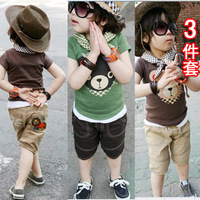 Little boy clothes set 100% cotton triangle children's clothing green coffee height 80-130cm 3 4 5 6 7 8 9 10 11 12 years yrs
