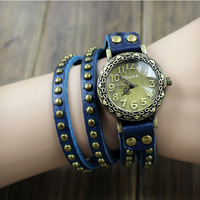 High Quality Fashion 3 Laps Long Genuine Cow Leather Watch Rivet Vintage Wristwatches