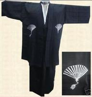 New Japanese kimono men's cotton kimono robe gown Dress with Obi Yukata Haori black LGD B0002