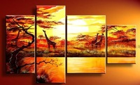Free shipping hand-painted wall art oil painting Wall Art The African grassland deer Modern Landscape abstract on canvas 4pcst