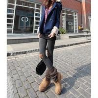 nz091 Free Shopping1pcs Latest/knee pentagram patch/female casual boots high elastic cotton leggings pants/nine minutes of pants