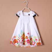 Catimini 13 female child butterfly sleeve watercolor print one-piece dress tank dress