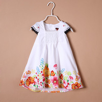Catimini 13 female child butterfly sleeve watercolor print one-piece dress tank dress