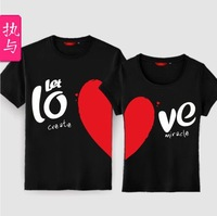 love lovers short-sleeve  T-shirt heart lovers design  couple clothings free shipping V32T