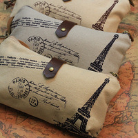 Korea stationery the eiffel tower retro vintage canvas pencil case storage bags wrist support pad bookmark pen bag free shipping