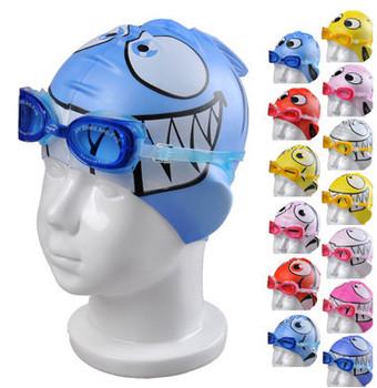 2013 10pcs/lot cartoon boy/girl bathing cap children cap Durable Sporty Swimming Swim Cap Bathing Hat Blue  Pink  free shipping