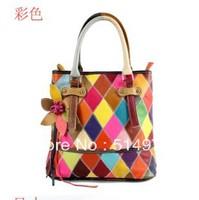 Best Selling!!2013 new fashion trendy women genuine leather handbag multicolour plaid bags lady Tote bag Free Shipping
