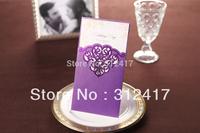 Top rated 318mm*208mm three fold laser cut  purple wedding invitations ,wholesale invitation supplies