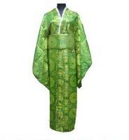 Green New Japanese kimono Women's silk satin kimono robe gown Dress with Obi Yukata Haori flower one size LGD H0021