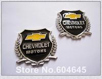 Free Shipping 2PCS(1 Pair) 3D Car Side Stickers Car Badge Logo Car Emblems For Chevrolet Motors Silver
