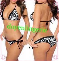 Free shipping Sexy Lady Halter Bra and Briefs Zebra-stripe Bikini Set Padded Boho Swimwear Swimsuit  3008