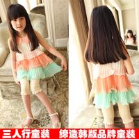 Free shipping 2013 summer child pleated one-piece dress cake tank dress  5pcs/lot