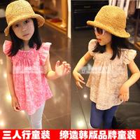 Free shipping 2013 child fashionable female child casual loose t-shirt  5pcs/lot