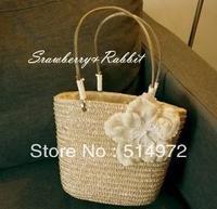 Best Selling!! new fashion trendy ladies Straw bag women flower handbag Straw Beach bag Free Shipping