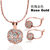 Big Promotion Ball pendant 18K Gold Plated Jewelry Wedding Set Nickel Free Plating Platinum Rhinestone  CLOVER1150B/S165