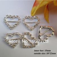 (CM43 15mm innner bar) 100 pcs heart buckle with horizontal bar for invitation ribbon slider