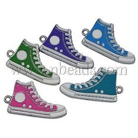 Alloy Enamel Pendants,  Lead Free and Cadmium Free,  Shoes,  Mixed Color,  Size: about 30mm long,  17mm wide,  2mm thick