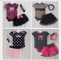 NEW  Retail Baby skull short sleeve rompers + headwear + tutu skirts 3pcs set Infant Princess Onesie Jumpsuit