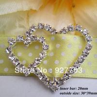 (CM46 20mm innner bar) 50 pcs double heart buckle for invitation ribbon slider