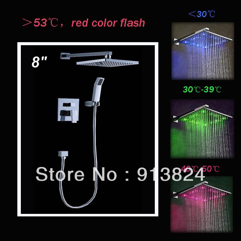 "8"" Big LED Square Shower Head Bathroom Rainfall Shower Faucet Set(China (Mainland))"