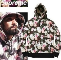 new 2013 SUPREME Power Lies flowers FLORAL PULLOVER men's Outerwear hoodies pocket hoody jumper Sweatshirts brand tag label
