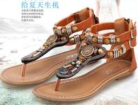 Big Size Bohemia 2014 Sandals Female Beaded Flower FLat Flip-flop flats Women's Shoes