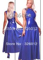 Sexy fashion blue fancy fetish latex dress for adult