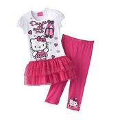 NEW KITTY princess suit T-shirt+ Leggings pants Cotton baby clothing