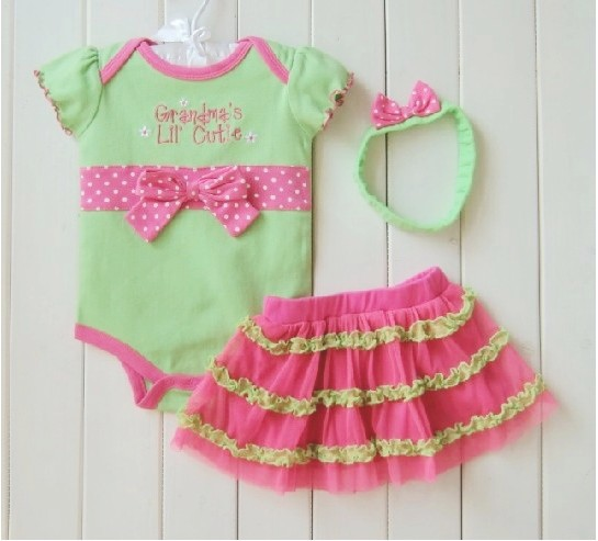 2013 Summer Bowknot Baby Girl Rompers +Headband+Princess TUTU Lace Skirt Short sleeve Children Clothing set 2 colors(China (Mainland))