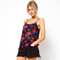 Cuicanduomu cami flower print black chiffon spaghetti strap vest 6 full size free shipping