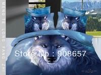 cotton bedlinen purple wolf animal prints 3D bedding set cheap home textile discount quilt/duvet covers for Queen/Full comforter