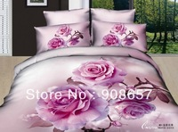 cotton bedlinen hot pink rose flower print 3D bedding set cheap home textile discount quilt/duvet cover for Queen/Full comforter