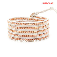 Rose Gold Nugget Wrap Bracelet on Leather,you can choose one of five designs  STM-0096