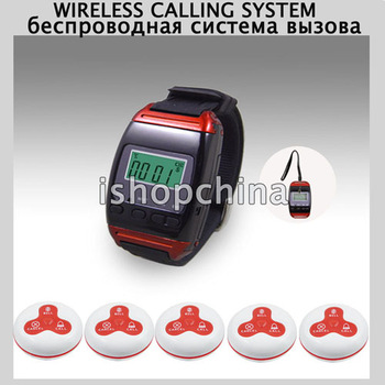 1 Set Wireless Calling System Waiter Service Paging System w 1pc Watch Receiver+5pcs Call Buttons AT-65005, DHL/EMS