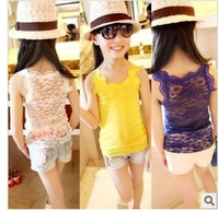 (5pcs/1lot free shipping) girls summer new superstar knitting lace hollow out super soft render vest